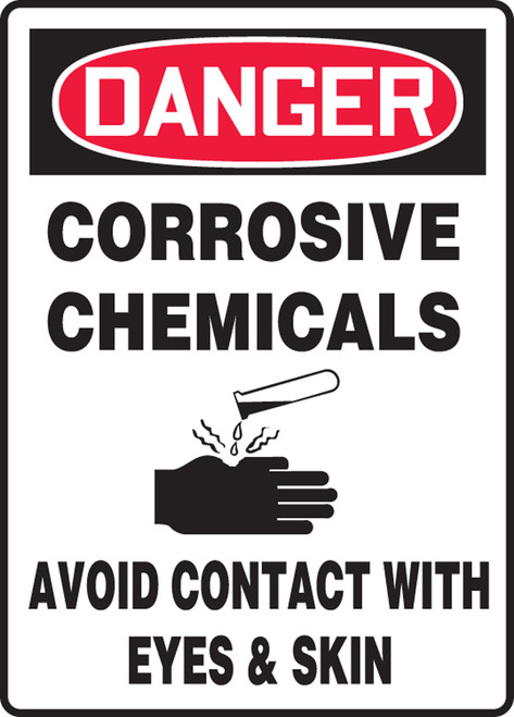 Danger - Corrosive Chemicals Avoid Contact With Eyes & Skin (W/Graphic) - Adhesive Dura-Vinyl - 14'' X 10''