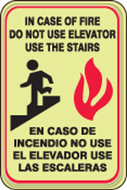 In Case Of Fire Do Not Use Elevators Use Stairways (w/graphic) (bilingual)