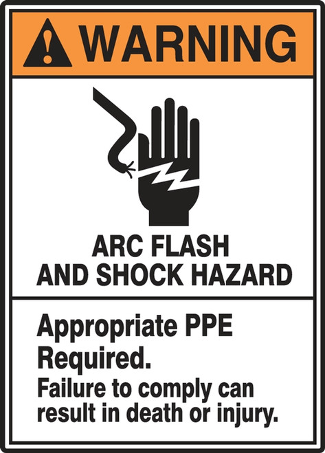 Warning - Arc Flash And Shock Hazard Appropriate Ppe Required Failure To Comply Can Result In Death Or Injury (W/Graphic) - Adhesive Dura-Vinyl - 14'' X 10''