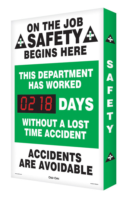 Safety Scoreboard- Digi Day- On The Job Safety Begins Here Accuform SCA218