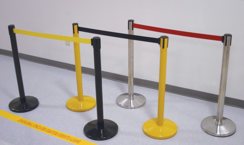 Blockage Retractable Belt Tape Barriers- Yellow Post and Black Belt Tape (indoor)