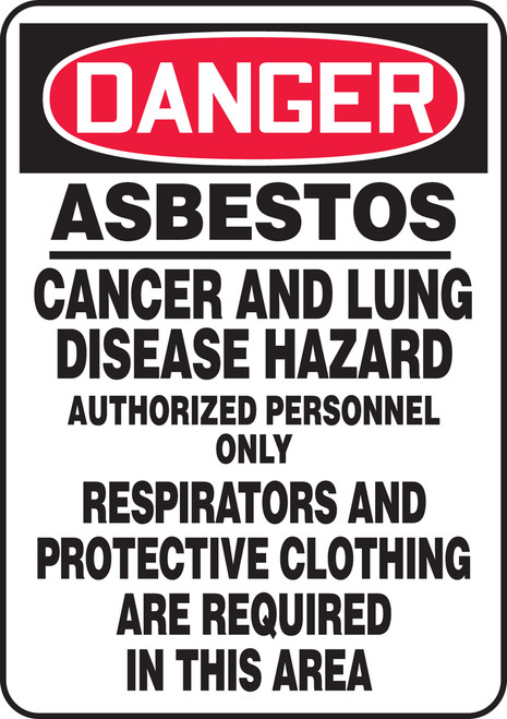 Danger - Asbestos Cancer And Lung Disease Hazard Authorized Personnel Only Respirators And Protective Clothing Are Required In This Area - .040 Aluminum - 20'' X 14''