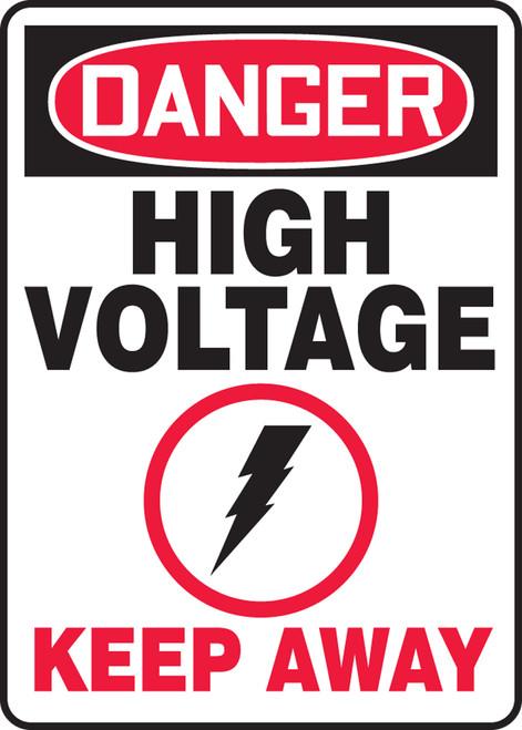 Danger - High Voltage Keep Away (W/Graphic) - Adhesive Vinyl - 14'' X 10''