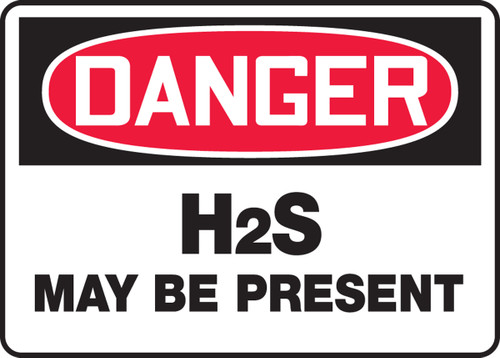 Danger - H2S May Be Present - Adhesive Vinyl - 7'' X 10''