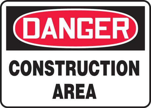 Danger - Construction Area - Adhesive Dura-Vinyl - 14'' X 20''