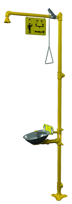 Bradley S19314SB Emergency Shower with Halo Eyewash and Plastic Showerhead