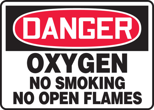 Danger - Oxygen No Smoking No Open Flames - Adhesive Dura-Vinyl - 7'' X 10''