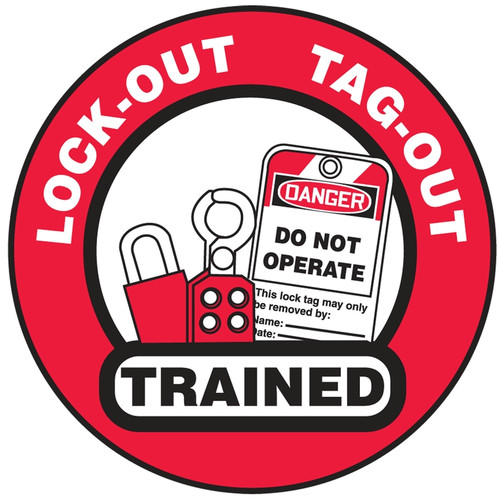 Lock-out Tag-out Trained Hard Hat Label