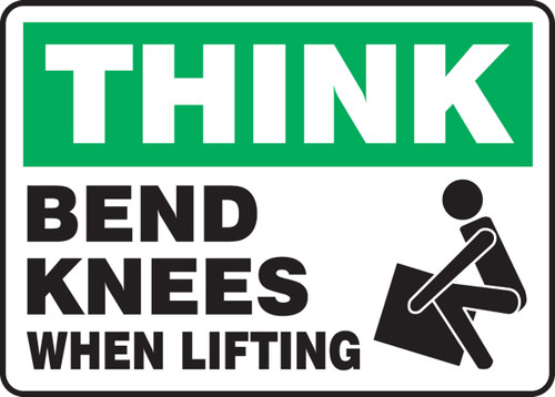 Think Bend Knees When Lifting Sign MGNF930VP