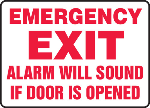 Emergency Exit Alarm Will Sound If Door Is Opened (Red Lettering)