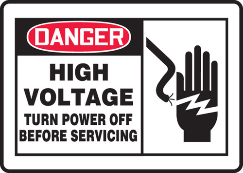 Danger High Voltage Turn Power Off Before Servicing Sign MELC070