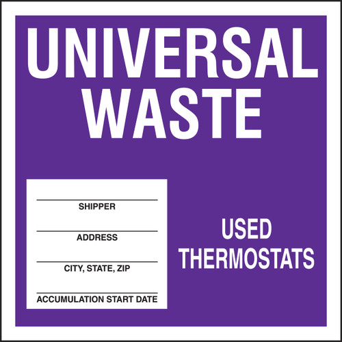 Universal Waste - Used Thermostats Labels- 25/pkg