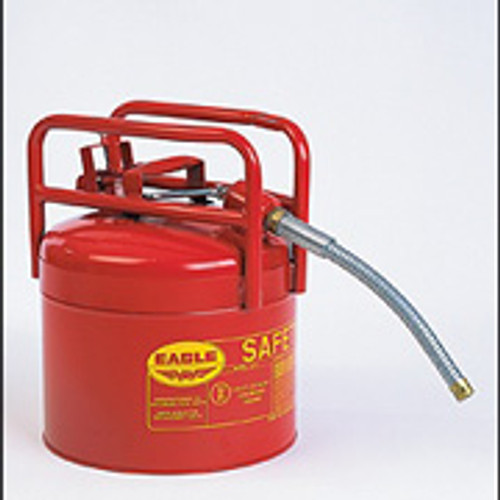 """Eagle Type II DOT Transport Safety Can- 5 Gallon w/ 5/8"""" flexible hose"""