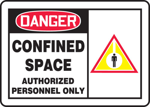 Danger - Confined Space Authorized Personnel Only (W/Graphic) - Adhesive Vinyl - 10'' X 14''