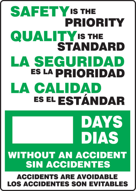 Write-A-Day Safety Scoreboard- Safety is the Priority- Bilingual