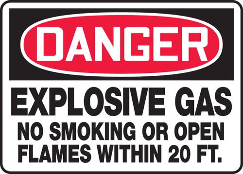 Danger - Explosive Gas No Smoking Or Open Flames Within 20 Ft. - Dura-Fiberglass - 10'' X 14''