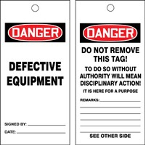 Danger Defective Equipment Safety Tag- Tags by the Roll