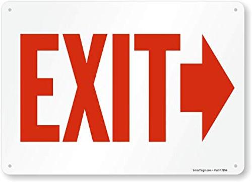 Exit (Arrow Right) - Plastic - 10'' X 14''