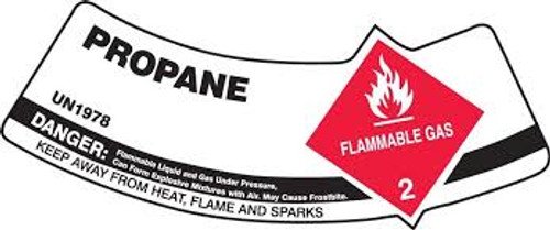 Propane Flammable Gas Danger Keep Away From Heat, Flame Or Sparks