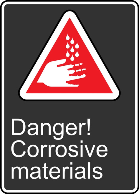 Danger Corrosive Materials (Danger Matieres Corrosives) - Adhesive Vinyl - 14'' X 10''