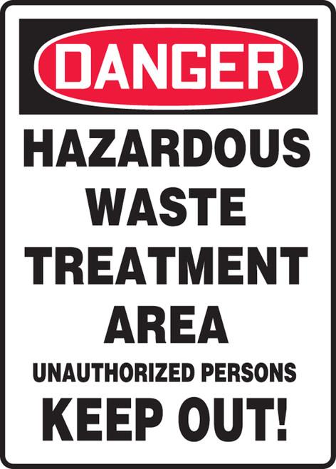 Danger - Hazardous Waste Treatment Area Unauthorized Persons Keep Out! - Adhesive Dura-Vinyl - 14'' X 10''