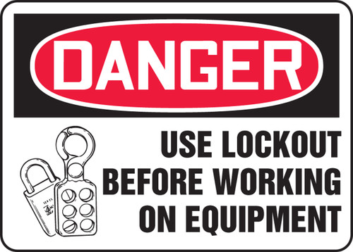 Danger - Use Lockout Before Working On Equipment W-Graphic - Adhesive Vinyl - 10'' X 14''