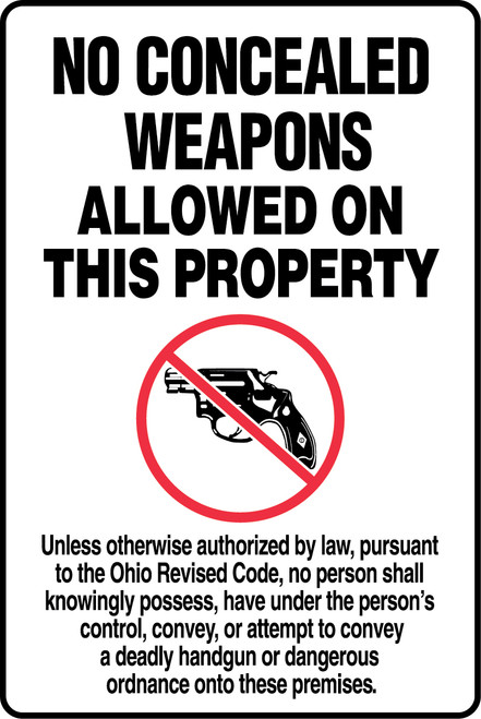 ohio concealed weapon sign MACC543
