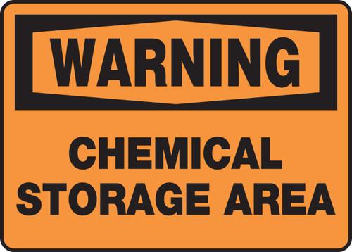 Warning - Chemical Storage Area - Adhesive Dura-Vinyl - 10'' X 14''