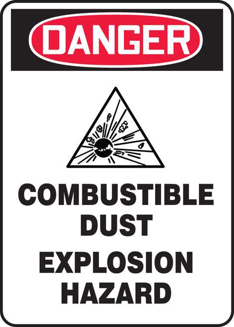 Danger Combustible Dust Explosion Hazard W/Graphic - Dura-Fiberglass - 10'' X 7''