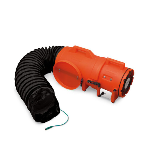 """Allegro 9538-25 8"""" Axial Explosion-Proof (EX) Plastic Blower w/ Compact Canister & 25' Ducting"""