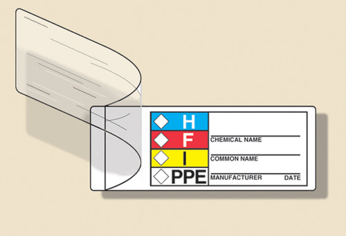 """Self-laminating Hmcis Common Chemical Identifier Roll Label- 1"""" X 3"""" 100/roll"""