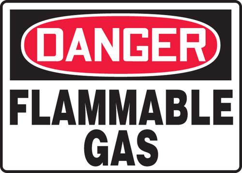 Danger - Flammable Gas - Adhesive Dura-Vinyl - 7'' X 10''