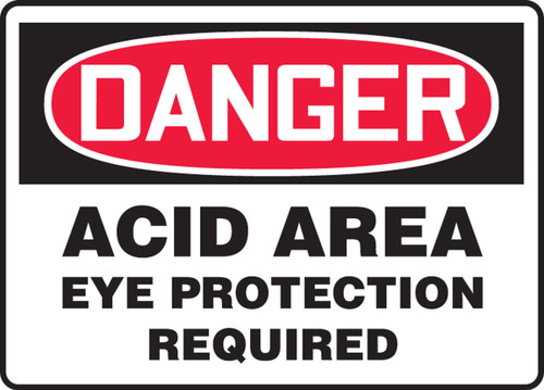 Danger - Acid Area Eye Protection Required
