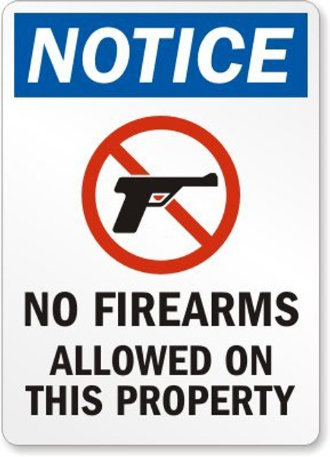 Notice - No Firearms Allowed On This Property (W/Graphic) - Re-Plastic - 10'' X 7''