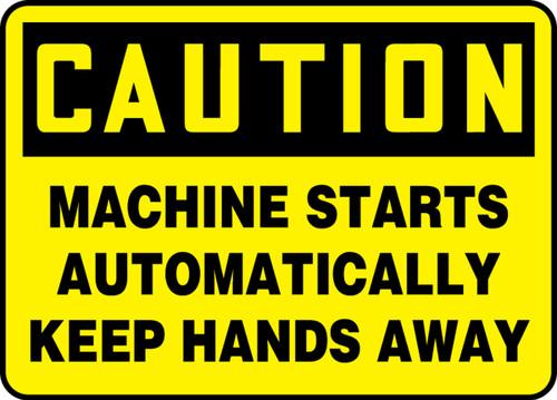Caution - Machine Starts Automatically Keep Hands Away