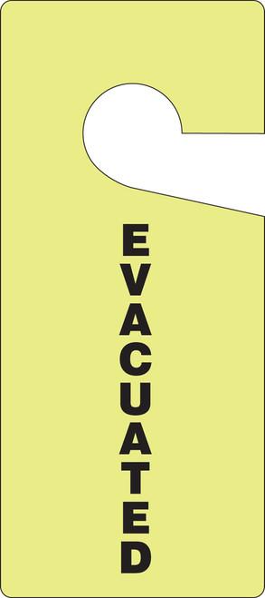 "Glow Door Knob Safety Tag: Evacuated - 9"" x 4"" - 10/pack"