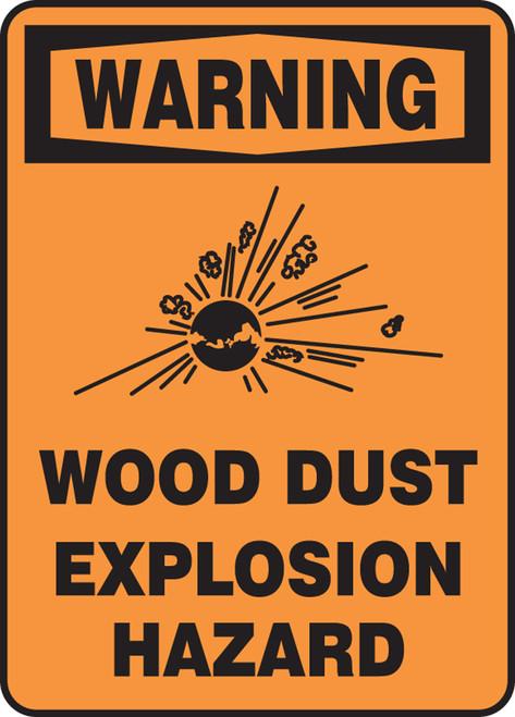 Warning - Warning Wood Dust Explosion Hazard W/Graphic - Adhesive Vinyl - 10'' X 7''