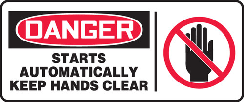 Danger - Starts Automatically Keep Hands Clear (W/Graphic) - Plastic - 7'' X 17''
