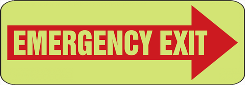 Emergency Exit Arrow Right Glow Sign
