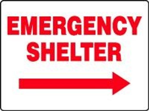 Emergency Shelter Sign With Arrow Right