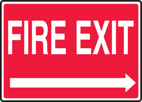 Fire Exit (Right Arrow) - Plastic - 7'' X 10''