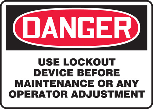 Danger - Use Lockout Device Before Maintenance Or Any Operator Adjustment - Adhesive Vinyl - 10'' X 14''