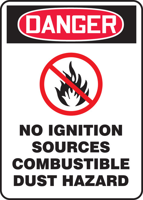 Danger - Danger No Ignition Sources Combustible Dust Hazard W/Graphic - Adhesive Dura-Vinyl - 14'' X 10''