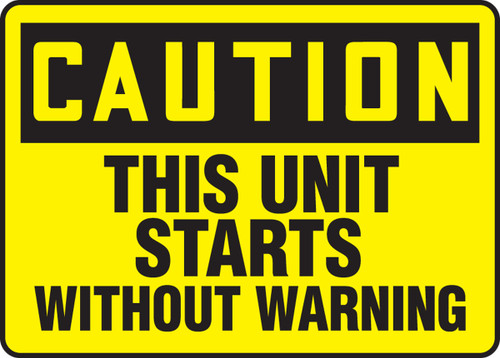 Caution - This Unit Starts Without Warning