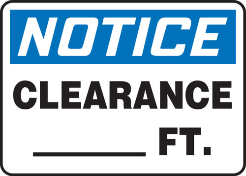 Notice - Clearance ____Ft.