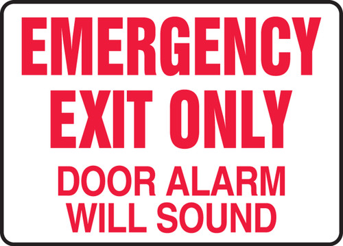 Emergency Exit Only Door Alarm Will Sound - Plastic - 10'' X 14''