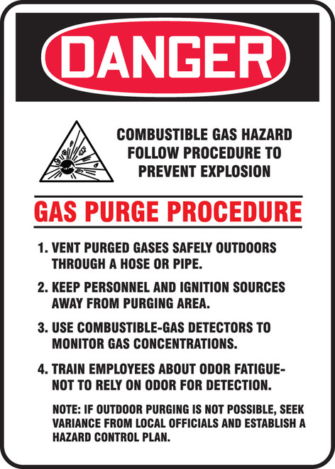 Danger - Danger Combustible Gas Hazard Follow Procedure To Prevent Explosion ... W/Graphic - Dura-Plastic - 18'' X 12''