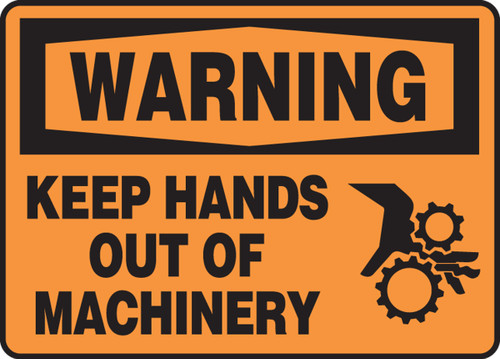 Warning - Keep Hands Out Of Machinery (W-Graphic) - Adhesive Dura-Vinyl - 10'' X 14''