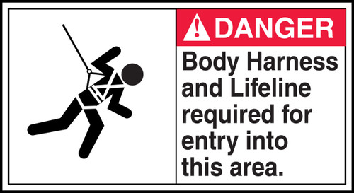 Danger - Body Harness And Lifeline Required For Entry Into This Area (W/Graphic) - Adhesive Vinyl - 6 1/2'' X 12''