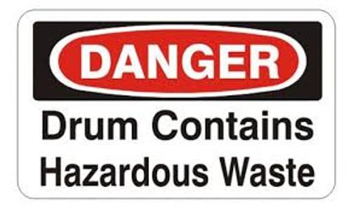 Danger Drum Contains Hazardous Waste Labels- 25/pkg